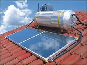 Aquecedor solar de água.